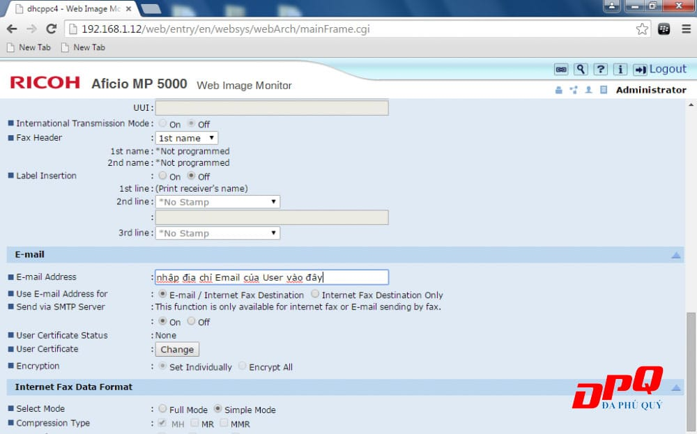 Cấu hình Scan to Email máy Photocopy Ricoh