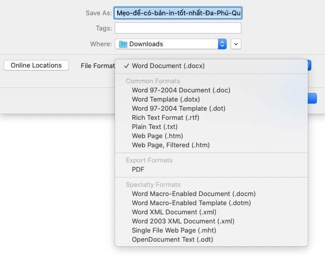 Cách chuyển file docx sang PDF