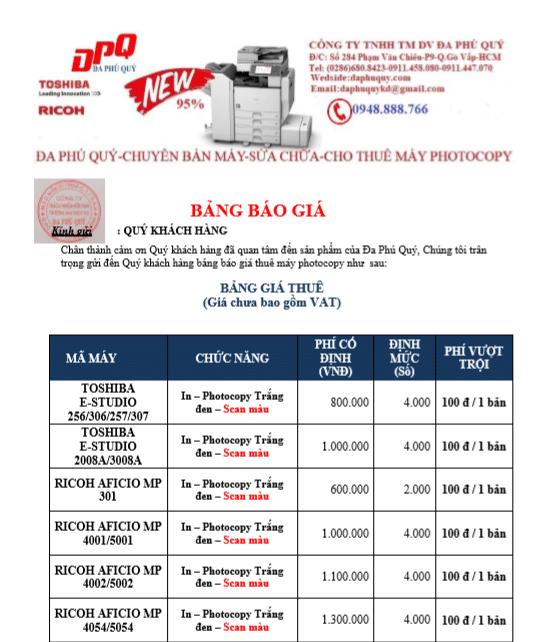 bảng giá máy photocopy đen trắng