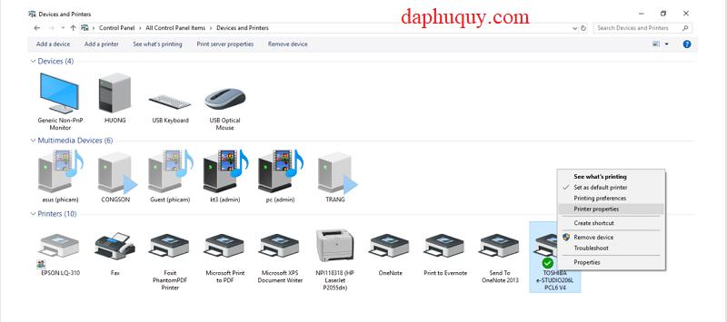 Các bước cài in máy photocopy Toshiba với máy tính