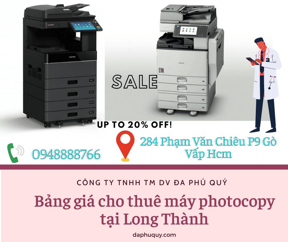 Bảng giá cho thuê máy photocopy tại Long Thành