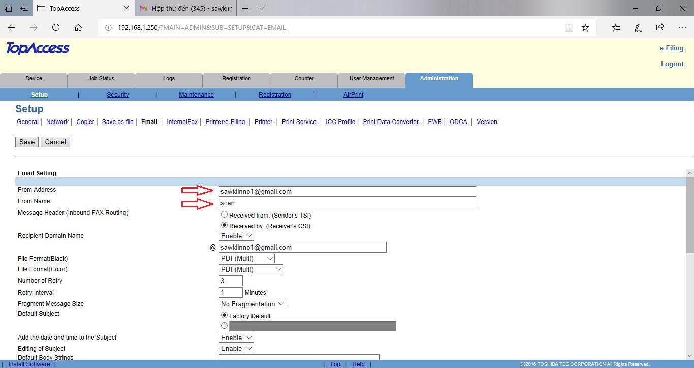 Hướng dẫn cài Scan to Email trên máy Photocopy Toshiba