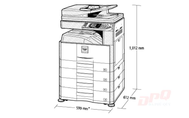 Kích thước máy photocopy Toshiba